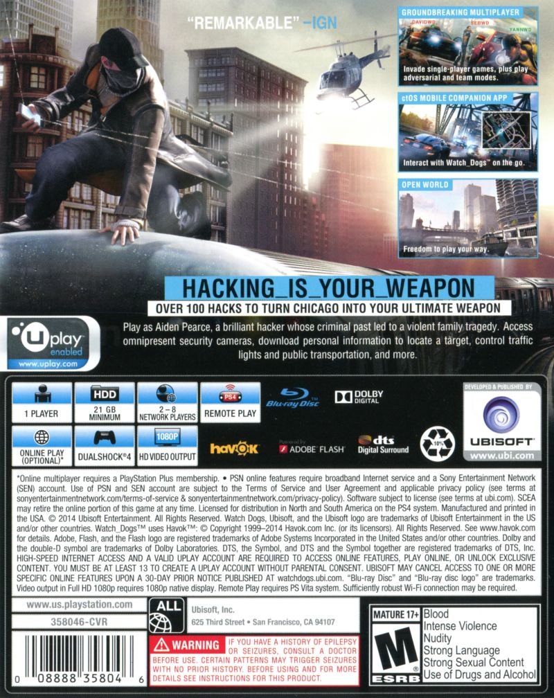 Watch Dogs Playstation 4 Retrogameage Sony Ps4 Game 2